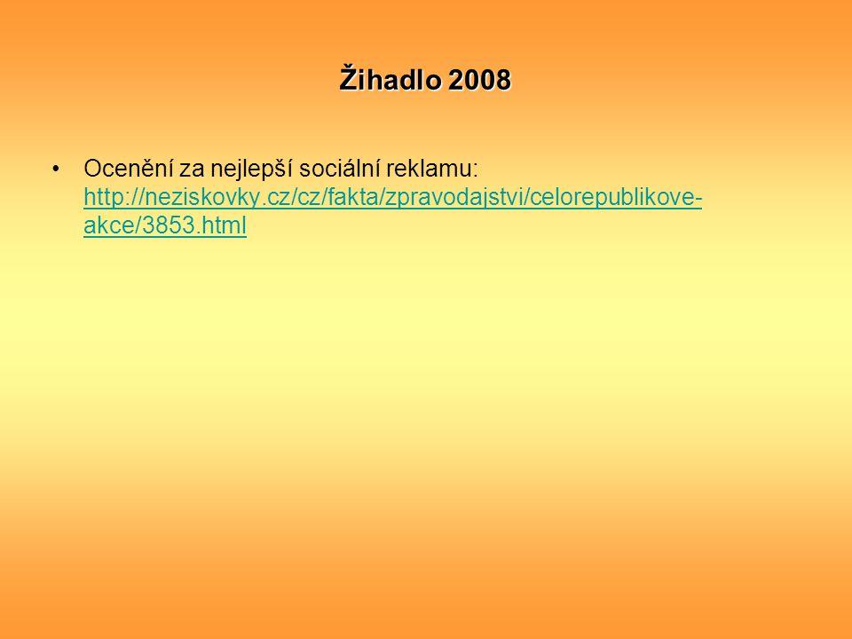 Žihadlo 2008 Ocenění za nejlepší sociální reklamu: http://neziskovky.cz/cz/fakta/zpravodajstvi/celorepublikove- akce/3853.html http://neziskovky.cz/cz