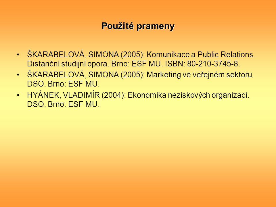 Použité prameny ŠKARABELOVÁ, SIMONA (2005): Komunikace a Public Relations. Distanční studijní opora. Brno: ESF MU. ISBN: 80-210-3745-8. ŠKARABELOVÁ, S