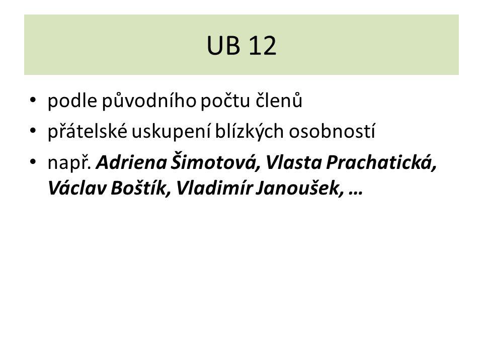 UB 12 podle původního počtu členů přátelské uskupení blízkých osobností např. Adriena Šimotová, Vlasta Prachatická, Václav Boštík, Vladimír Janoušek,