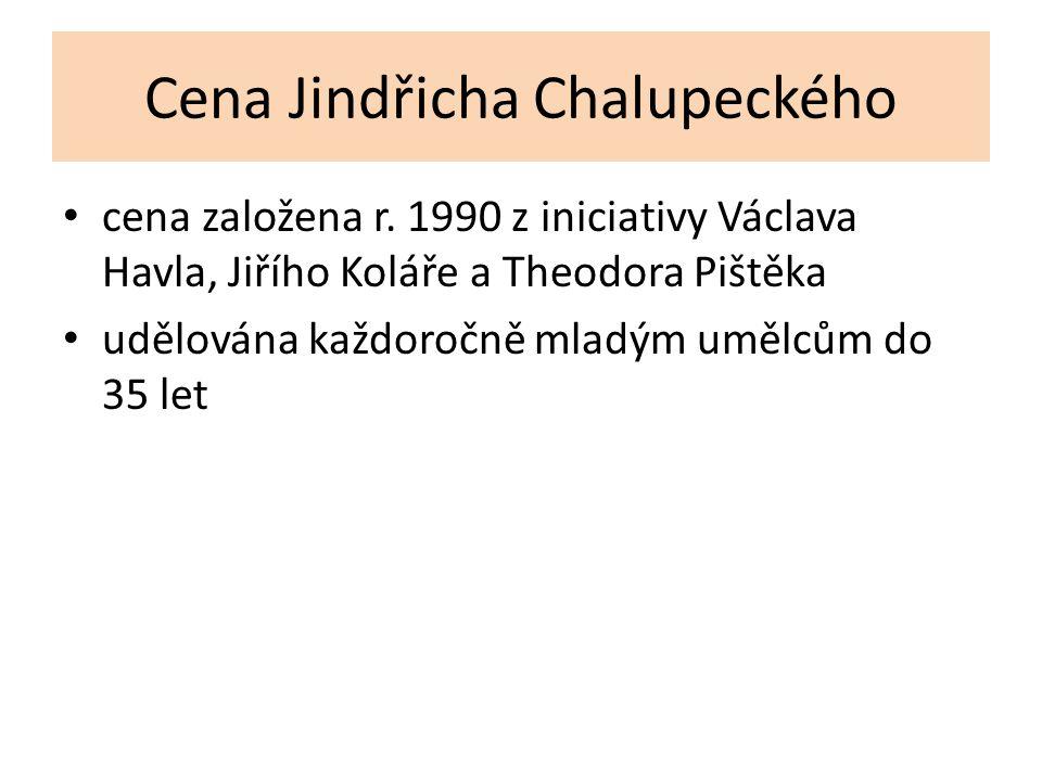 Cena Jindřicha Chalupeckého cena založena r. 1990 z iniciativy Václava Havla, Jiřího Koláře a Theodora Pištěka udělována každoročně mladým umělcům do