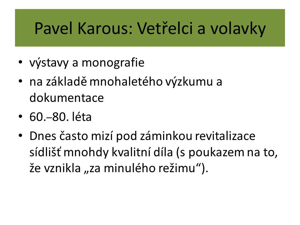 Pavel Karous: Vetřelci a volavky výstavy a monografie na základě mnohaletého výzkumu a dokumentace 60. – 80. léta Dnes často mizí pod záminkou revital