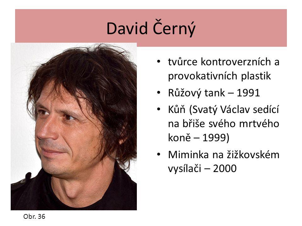 David Černý tvůrce kontroverzních a provokativních plastik Růžový tank – 1991 Kůň (Svatý Václav sedící na břiše svého mrtvého koně – 1999) Miminka na