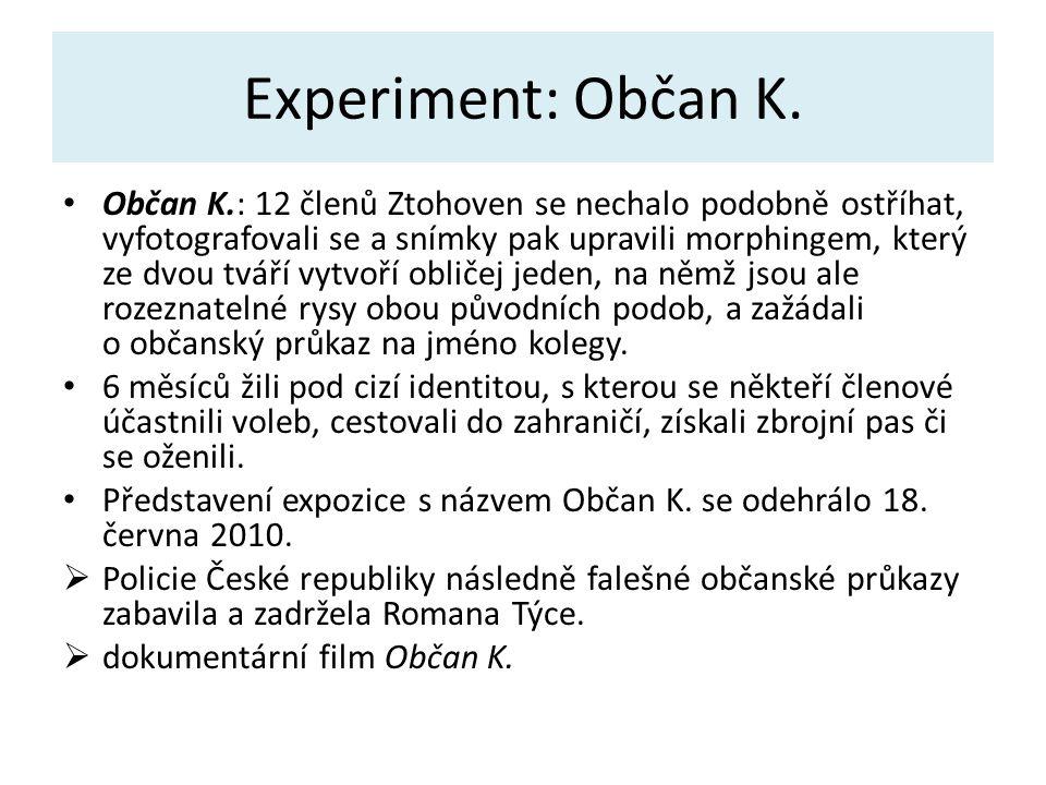 Experiment: Občan K. Občan K.: 12 členů Ztohoven se nechalo podobně ostříhat, vyfotografovali se a snímky pak upravili morphingem, který ze dvou tváří