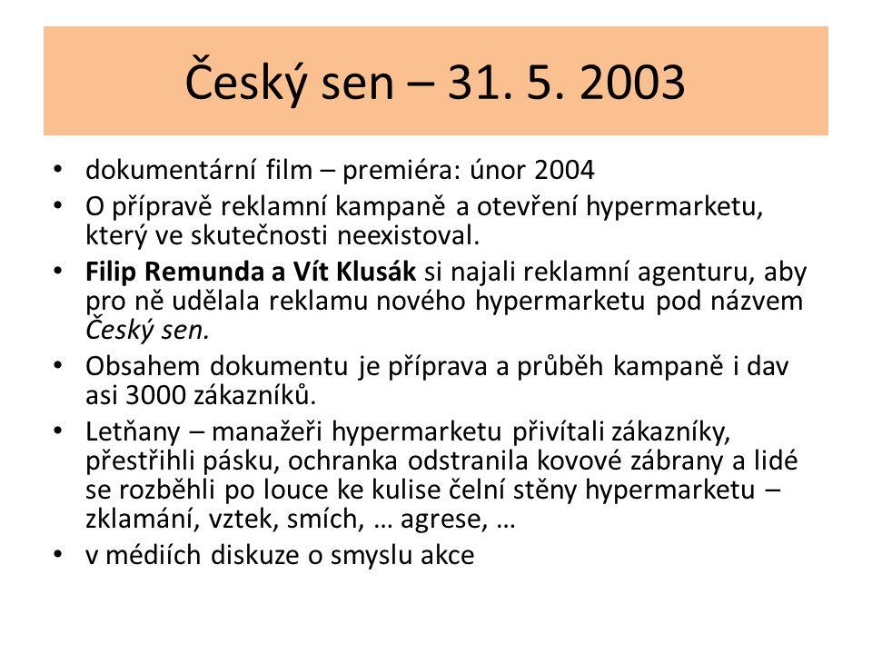 Český sen – 31. 5. 2003 dokumentární film – premiéra: únor 2004 O přípravě reklamní kampaně a otevření hypermarketu, který ve skutečnosti neexistoval.