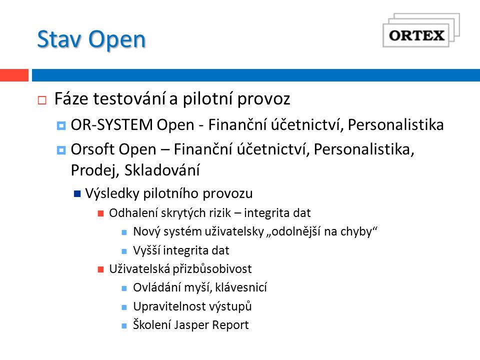 Stav Open  Fáze testování a pilotní provoz  OR-SYSTEM Open - Finanční účetnictví, Personalistika  Orsoft Open – Finanční účetnictví, Personalistika