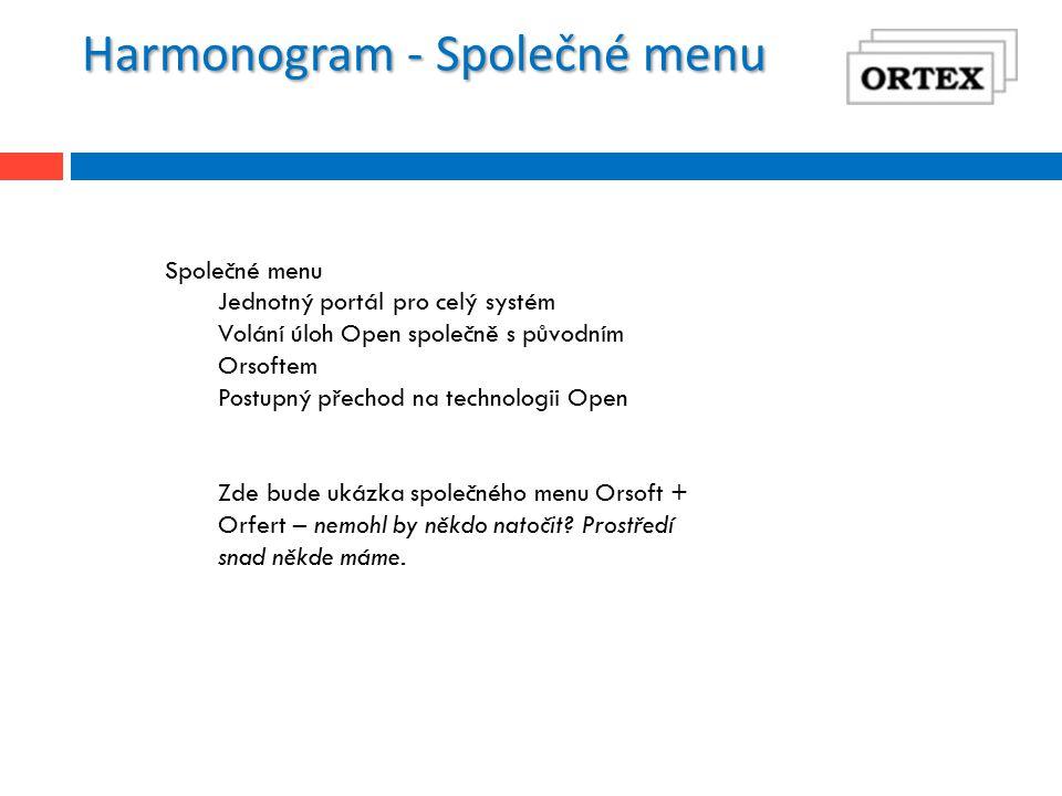 Harmonogram - Společné menu Společné menu Jednotný portál pro celý systém Volání úloh Open společně s původním Orsoftem Postupný přechod na technologii Open Zde bude ukázka společného menu Orsoft + Orfert – nemohl by někdo natočit.