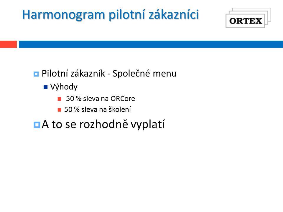 Harmonogram pilotní zákazníci  Pilotní zákazník - Společné menu Výhody 50 % sleva na ORCore 50 % sleva na školení  A to se rozhodně vyplatí