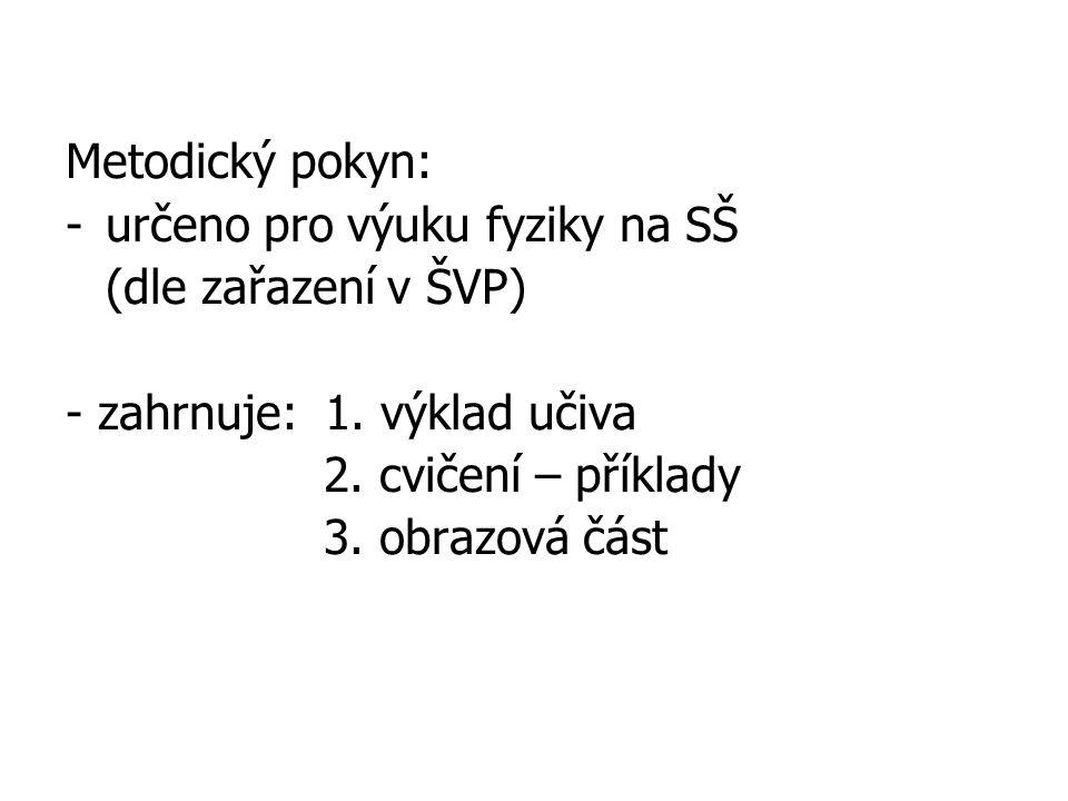 Metodický pokyn: -určeno pro výuku fyziky na SŠ (dle zařazení v ŠVP) - zahrnuje: 1.