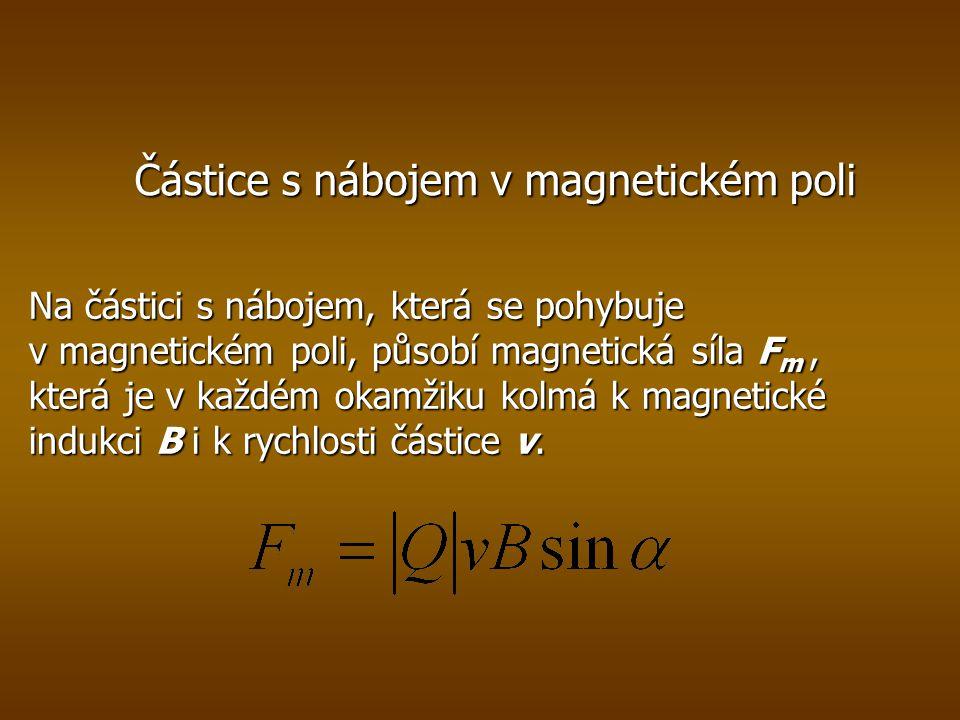 Částice s nábojem v magnetickém poli Na částici s nábojem, která se pohybuje v magnetickém poli, působí magnetická síla F m, která je v každém okamžiku kolmá k magnetické indukci B i k rychlosti částice v.