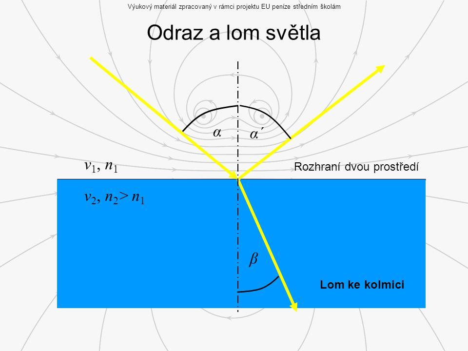Odraz a lom světla Výukový materiál zpracovaný v rámci projektu EU peníze středním školám Rozhraní dvou prostředí v 1, n 1 v 2, n 2 > n 1 α α´ β Lom ke kolmici