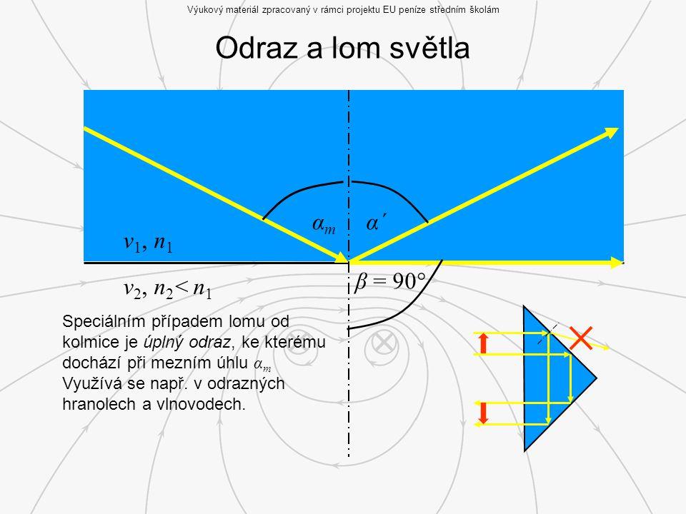 Odraz a lom světla Výukový materiál zpracovaný v rámci projektu EU peníze středním školám v 1, n 1 v 2, n 2 < n 1 αmαm α´ β = 90° Speciálním případem lomu od kolmice je úplný odraz, ke kterému dochází při mezním úhlu α m Využívá se např.