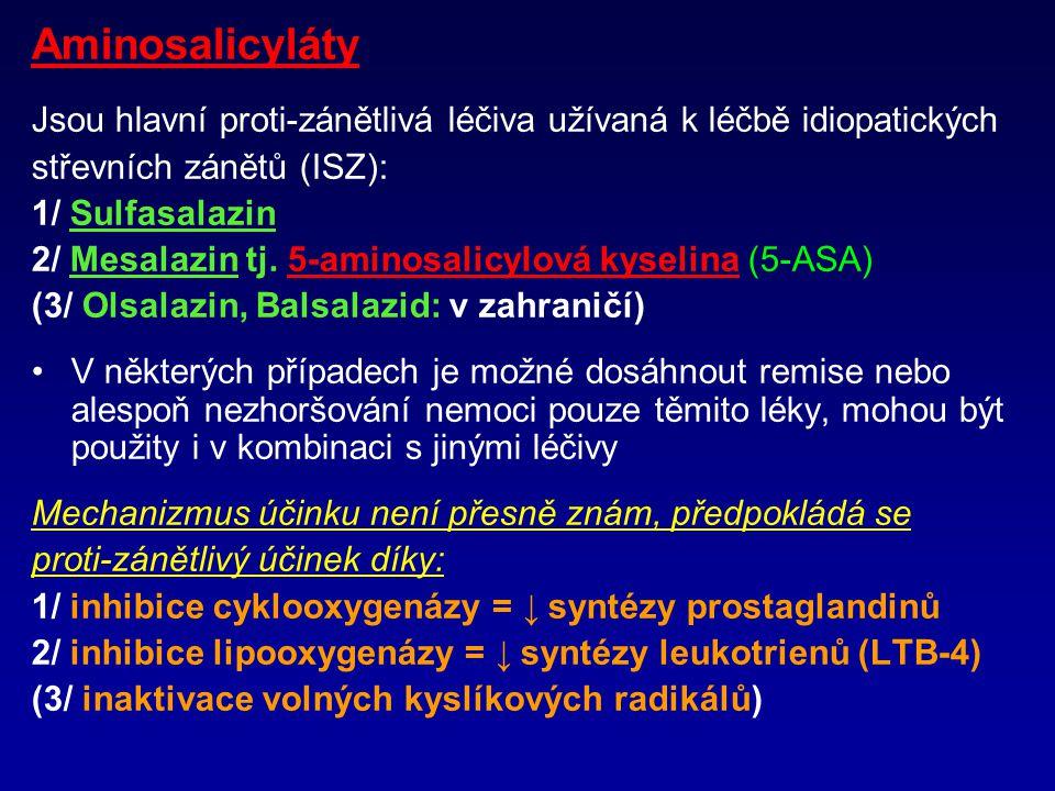 Aminosalicyláty Jsou hlavní proti-zánětlivá léčiva užívaná k léčbě idiopatických střevních zánětů (ISZ): 1/ Sulfasalazin 2/ Mesalazin tj.