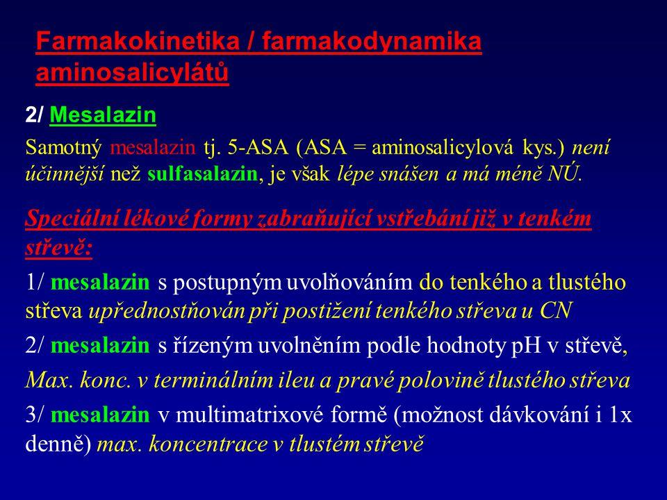 Farmakokinetika / farmakodynamika aminosalicylátů 2/ Mesalazin Samotný mesalazin tj.