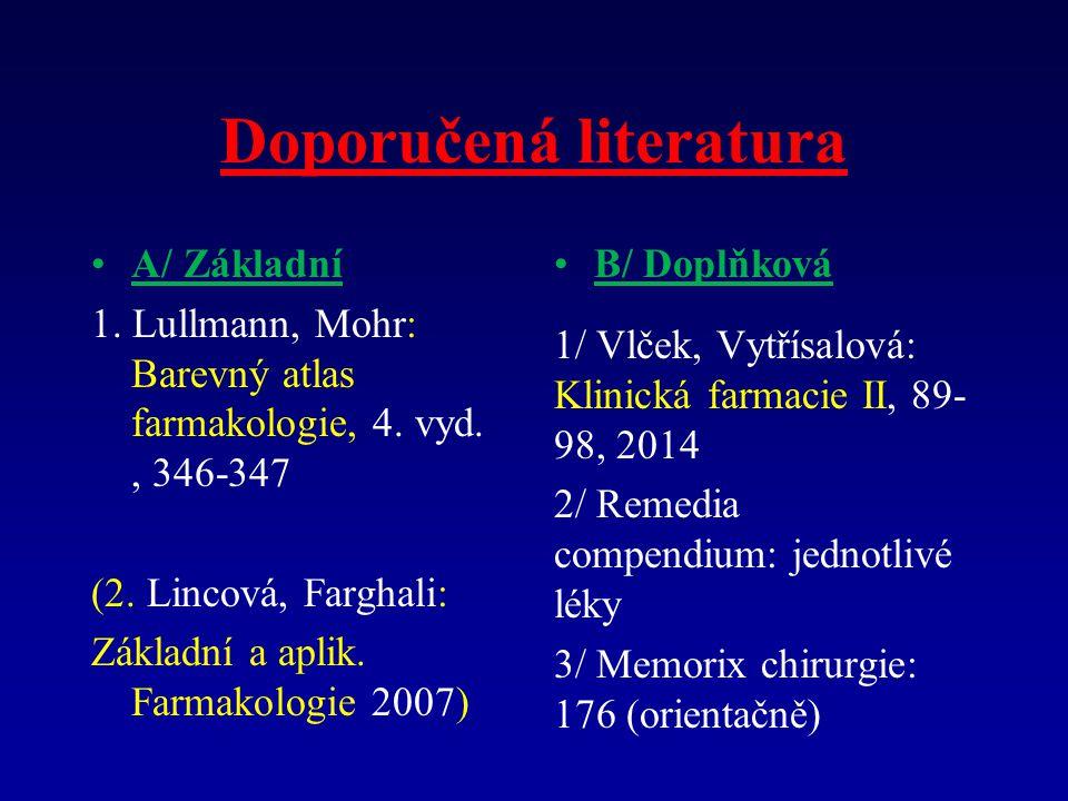 Doporučená literatura A/ Základní 1.Lullmann, Mohr: Barevný atlas farmakologie, 4.