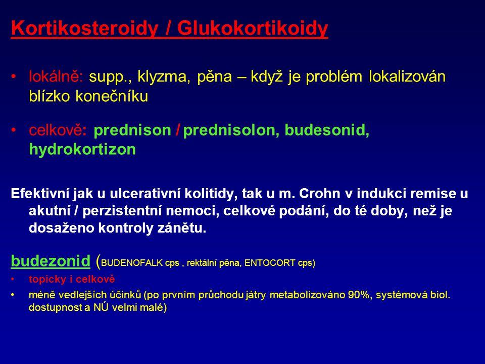Kortikosteroidy / Glukokortikoidy lokálně: supp., klyzma, pěna – když je problém lokalizován blízko konečníku celkově: prednison / prednisolon, budesonid, hydrokortizon Efektivní jak u ulcerativní kolitidy, tak u m.