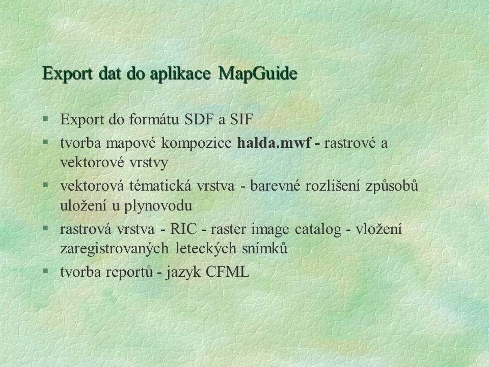 Export dat do aplikace MapGuide §Export do formátu SDF a SIF §tvorba mapové kompozice halda.mwf - rastrové a vektorové vrstvy §vektorová tématická vrs