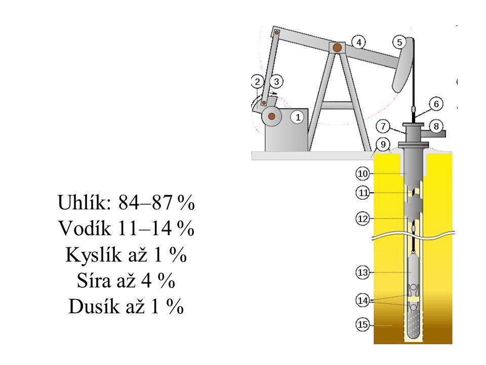 Uhlík: 84–87 % Vodík 11–14 % Kyslík až 1 % Síra až 4 % Dusík až 1 %