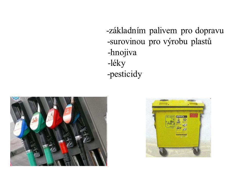 -základním palivem pro dopravu -surovinou pro výrobu plastů -hnojiva -léky -pesticidy