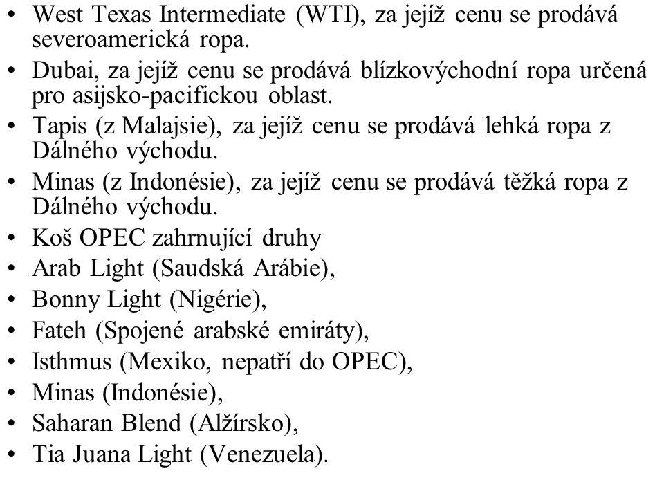 West Texas Intermediate (WTI), za jejíž cenu se prodává severoamerická ropa.