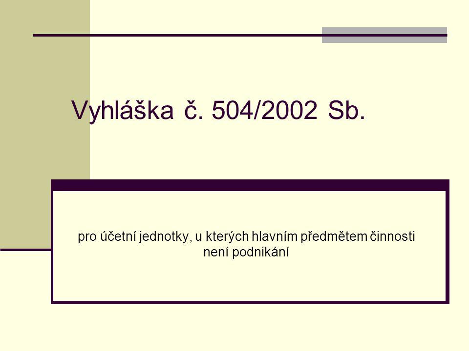 Vyhláška č. 504/2002 Sb. pro účetní jednotky, u kterých hlavním předmětem činnosti není podnikání