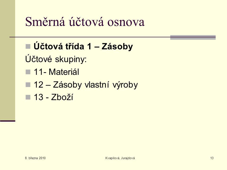 8. března 2010 Kvapilová, Jurajdová13 Směrná účtová osnova Účtová třída 1 – Zásoby Účtové skupiny: 11- Materiál 12 – Zásoby vlastní výroby 13 - Zboží