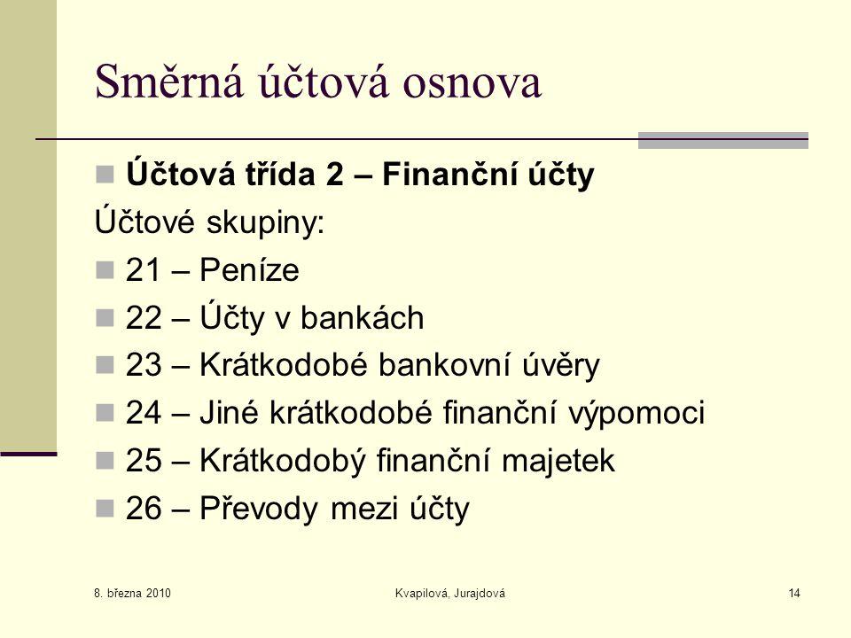 8. března 2010 Kvapilová, Jurajdová14 Směrná účtová osnova Účtová třída 2 – Finanční účty Účtové skupiny: 21 – Peníze 22 – Účty v bankách 23 – Krátkod
