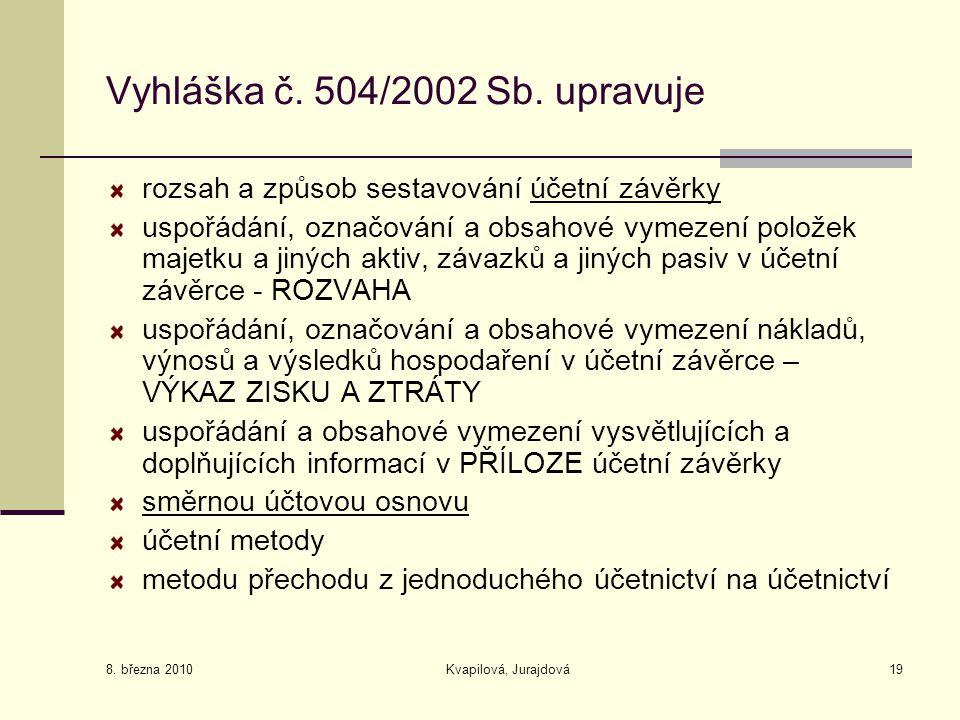 8. března 2010 Kvapilová, Jurajdová19 Vyhláška č. 504/2002 Sb. upravuje rozsah a způsob sestavování účetní závěrky uspořádání, označování a obsahové v