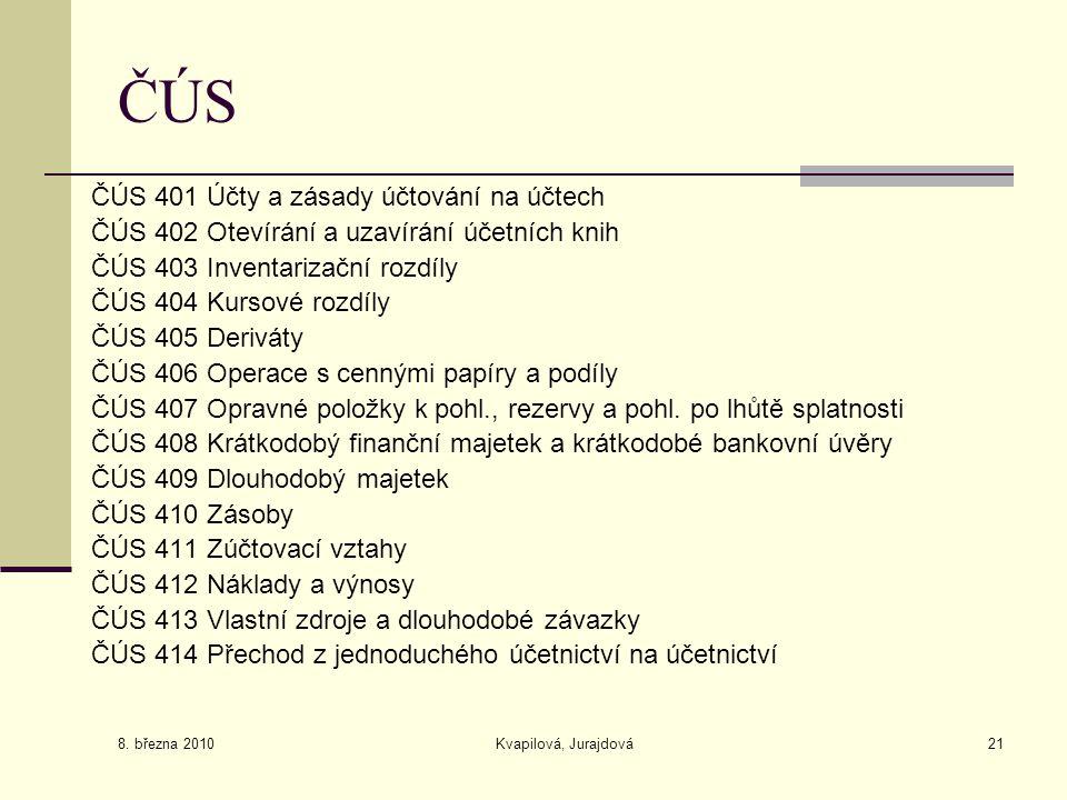 8. března 2010 Kvapilová, Jurajdová21 ČÚS ČÚS 401 Účty a zásady účtování na účtech ČÚS 402 Otevírání a uzavírání účetních knih ČÚS 403 Inventarizační