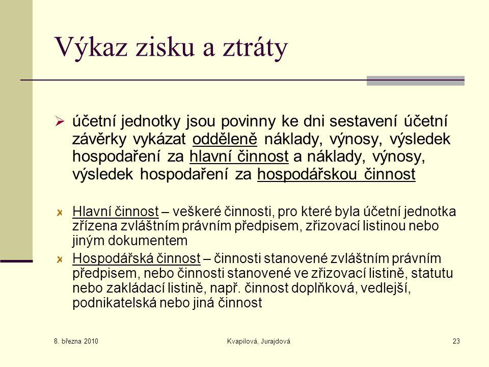8. března 2010 Kvapilová, Jurajdová23 Výkaz zisku a ztráty  účetní jednotky jsou povinny ke dni sestavení účetní závěrky vykázat odděleně náklady, vý