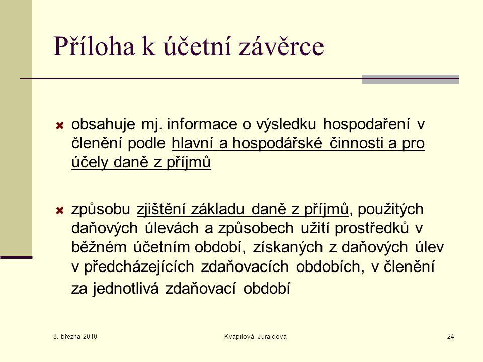 8. března 2010 Kvapilová, Jurajdová24 Příloha k účetní závěrce obsahuje mj. informace o výsledku hospodaření v členění podle hlavní a hospodářské činn