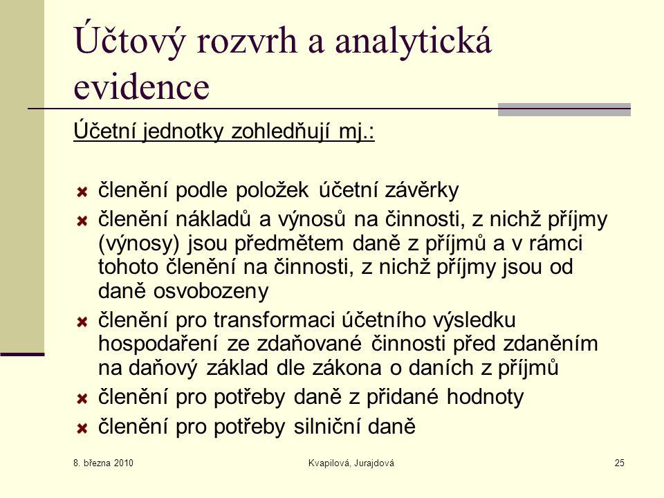 8. března 2010 Kvapilová, Jurajdová25 Účtový rozvrh a analytická evidence Účetní jednotky zohledňují mj.: členění podle položek účetní závěrky členění
