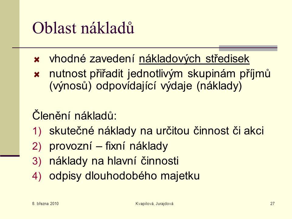 8. března 2010 Kvapilová, Jurajdová27 Oblast nákladů vhodné zavedení nákladových středisek nutnost přiřadit jednotlivým skupinám příjmů (výnosů) odpov
