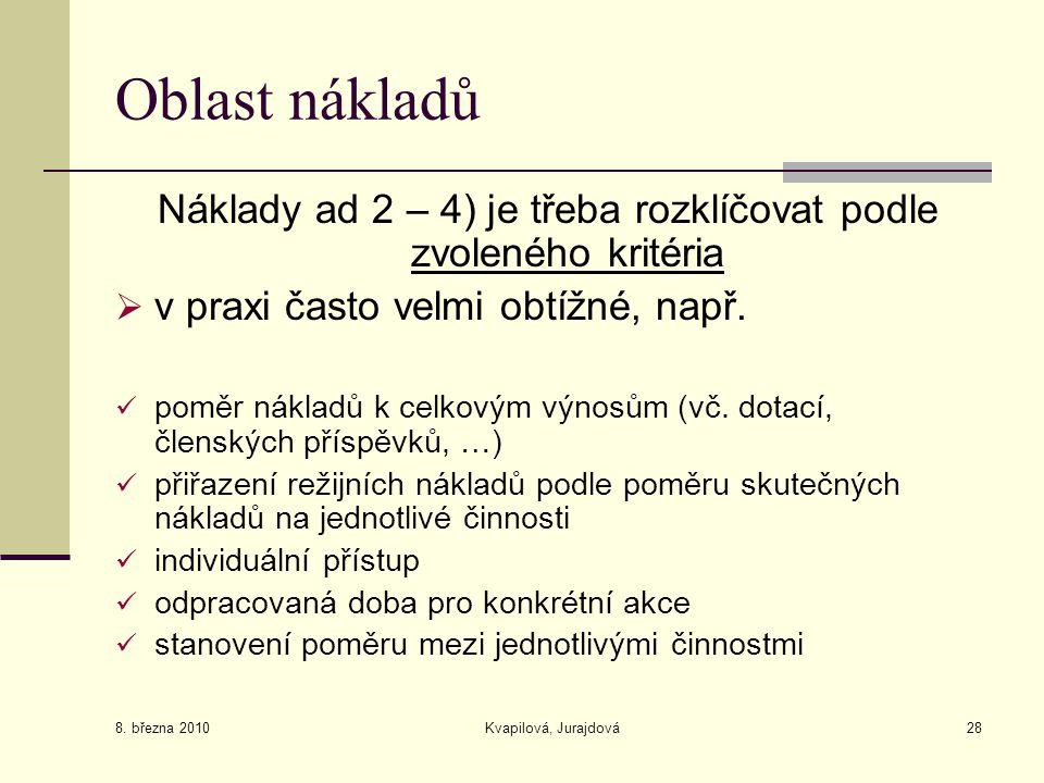 8. března 2010 Kvapilová, Jurajdová28 Oblast nákladů Náklady ad 2 – 4) je třeba rozklíčovat podle zvoleného kritéria  v praxi často velmi obtížné, na