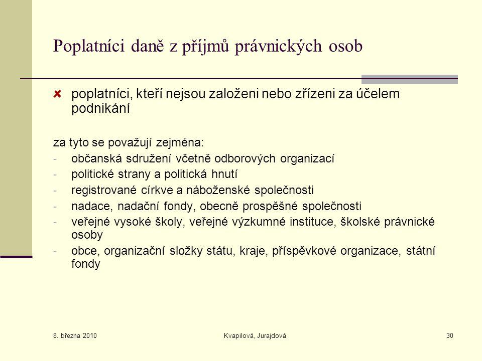 8. března 2010 Kvapilová, Jurajdová30 Poplatníci daně z příjmů právnických osob poplatníci, kteří nejsou založeni nebo zřízeni za účelem podnikání za