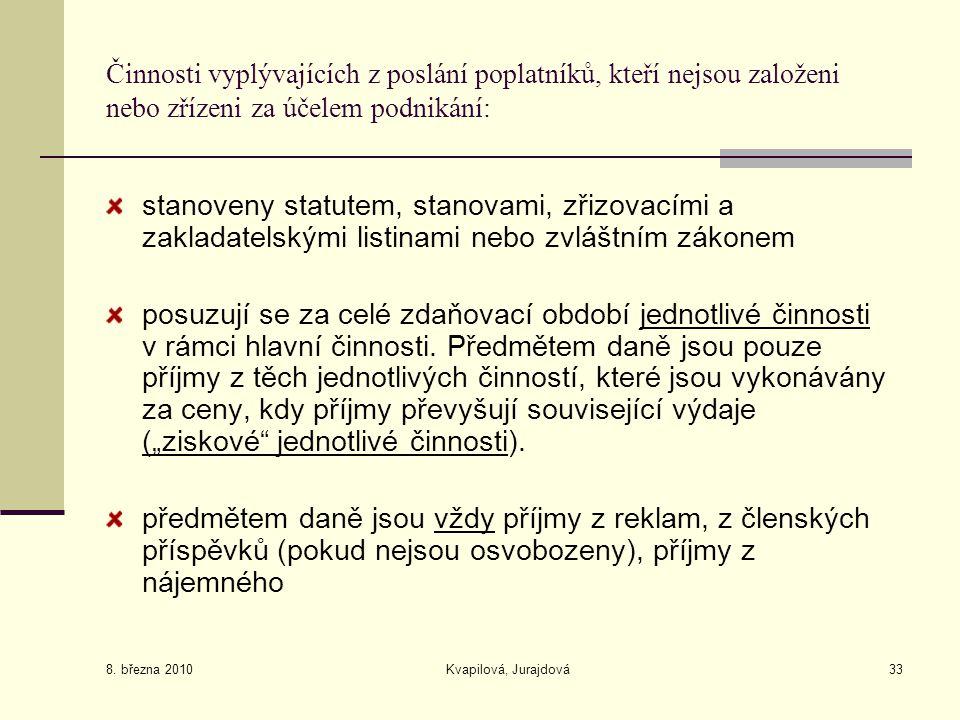 8. března 2010 Kvapilová, Jurajdová33 Činnosti vyplývajících z poslání poplatníků, kteří nejsou založeni nebo zřízeni za účelem podnikání: stanoveny s