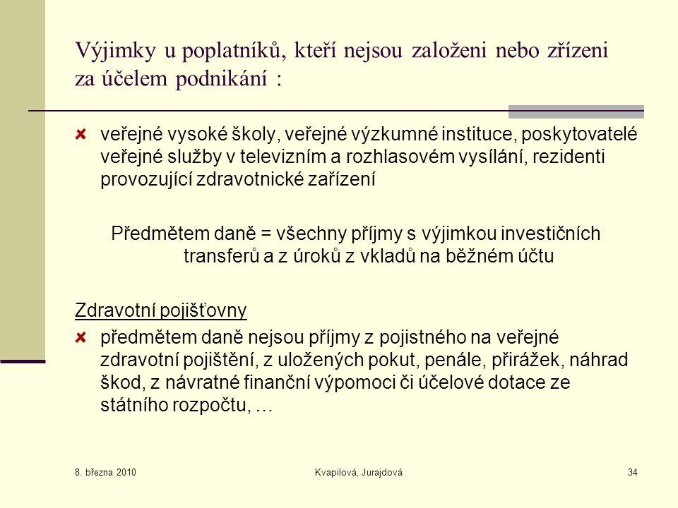 8. března 2010 Kvapilová, Jurajdová34 Výjimky u poplatníků, kteří nejsou založeni nebo zřízeni za účelem podnikání : veřejné vysoké školy, veřejné výz