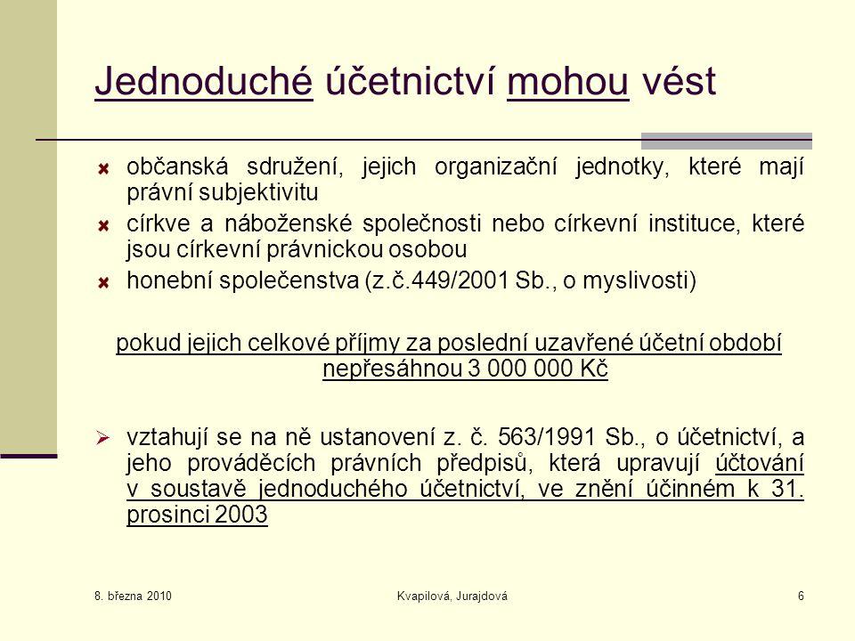 8. března 2010 Kvapilová, Jurajdová6 Jednoduché účetnictví mohou vést občanská sdružení, jejich organizační jednotky, které mají právní subjektivitu c