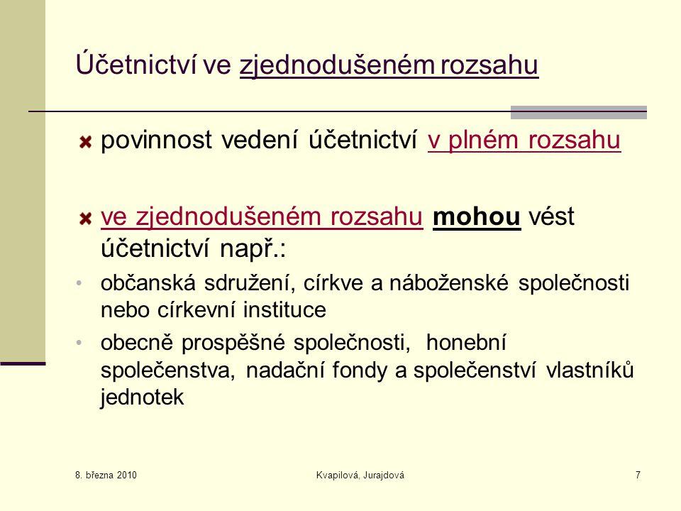 8. března 2010 Kvapilová, Jurajdová7 Účetnictví ve zjednodušeném rozsahu povinnost vedení účetnictví v plném rozsahu ve zjednodušeném rozsahu mohou vé