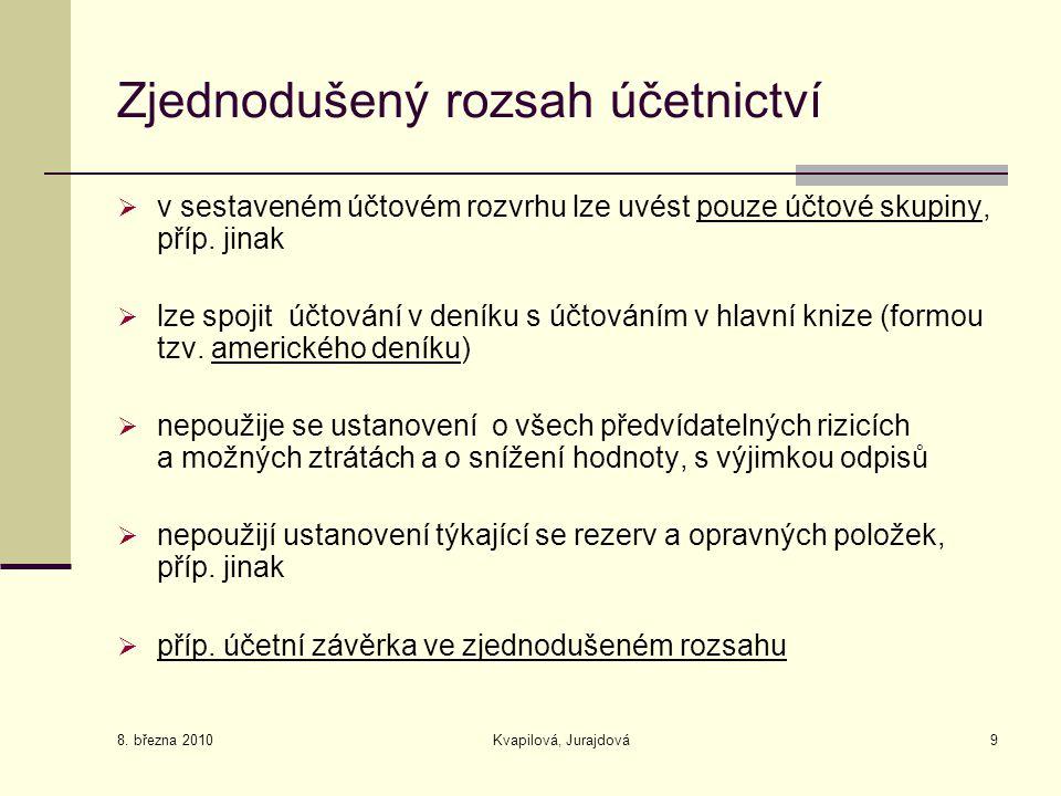 8. března 2010 Kvapilová, Jurajdová9 Zjednodušený rozsah účetnictví  v sestaveném účtovém rozvrhu lze uvést pouze účtové skupiny, příp. jinak  lze s
