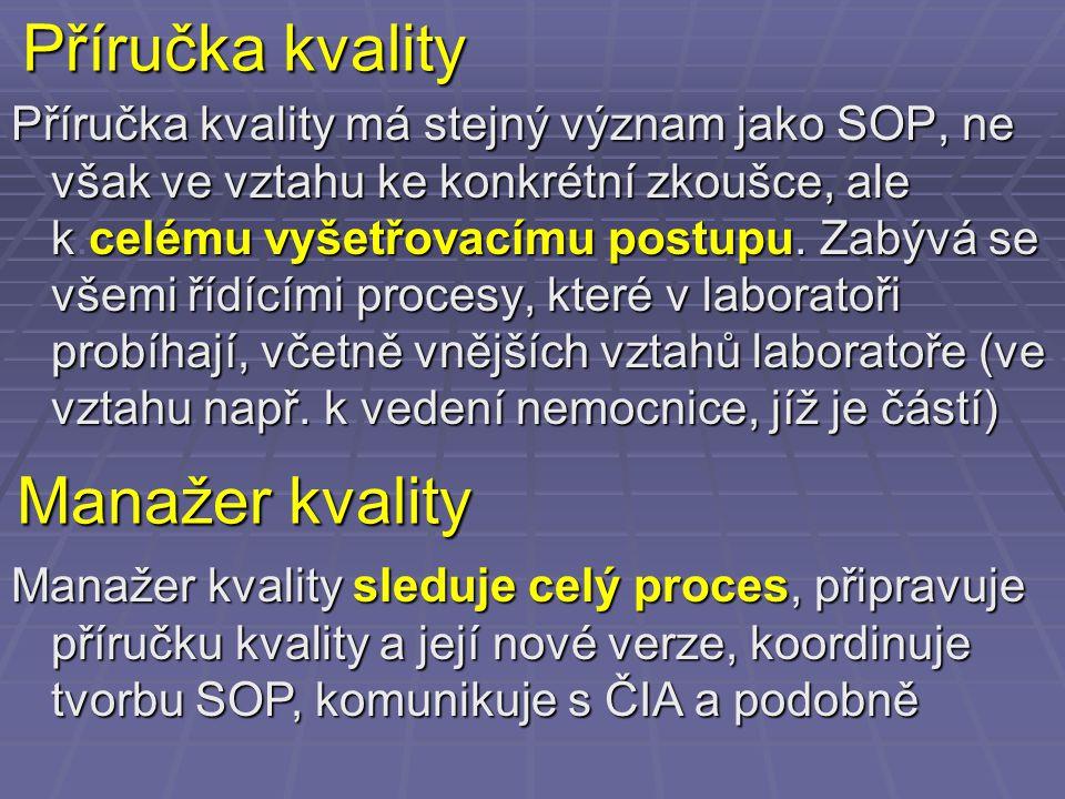 Příručka kvality Příručka kvality má stejný význam jako SOP, ne však ve vztahu ke konkrétní zkoušce, ale kcelému vyšetřovacímu postupu. Zabývá se všem