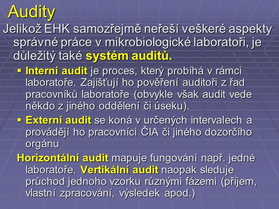 Audity Jelikož EHK samozřejmě neřeší veškeré aspekty správné práce v mikrobiologické laboratoři, je důležitý také systém auditů.  Interní audit je pr