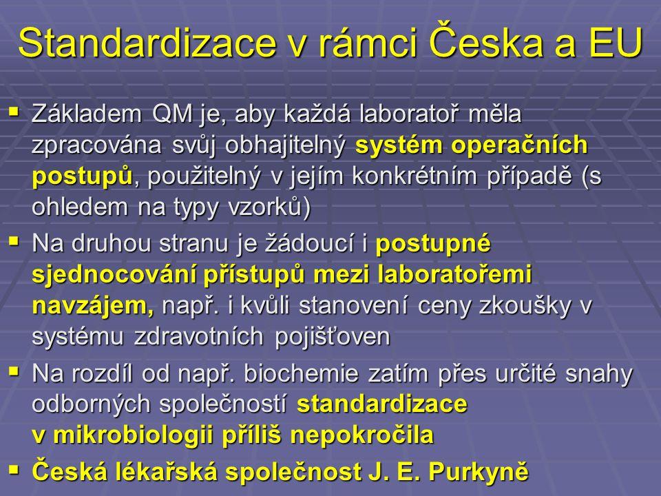 Standardizace v rámci Česka a EU  Základem QM je, aby každá laboratoř měla zpracována svůj obhajitelný systém operačních postupů, použitelný v jejím konkrétním případě (s ohledem na typy vzorků)  Na druhou stranu je žádoucí i postupné sjednocování přístupů mezi laboratořemi navzájem, např.