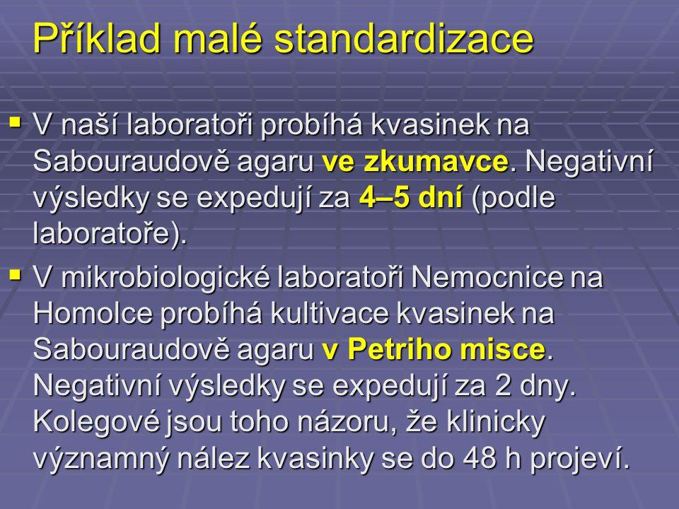 Příklad malé standardizace  V naší laboratoři probíhá kvasinek na Sabouraudově agaru ve zkumavce. Negativní výsledky se expedují za 4–5 dní (podle la