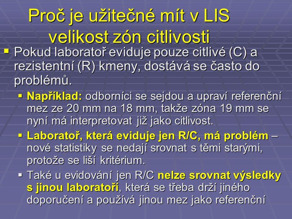 Proč je užitečné mít v LIS velikost zón citlivosti  Pokud laboratoř eviduje pouze citlivé (C) a rezistentní (R) kmeny, dostává se často do problémů.