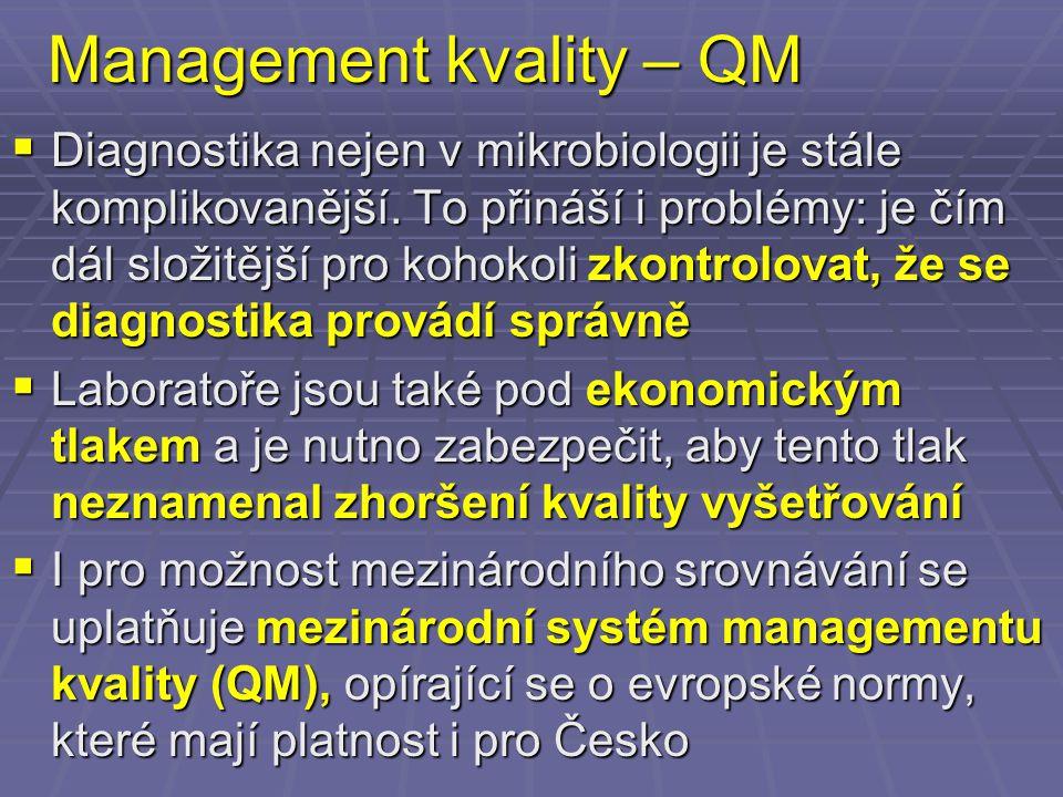 Management kvality – QM  Diagnostika nejen v mikrobiologii je stále komplikovanější. To přináší i problémy: je čím dál složitější pro kohokoli zkontr