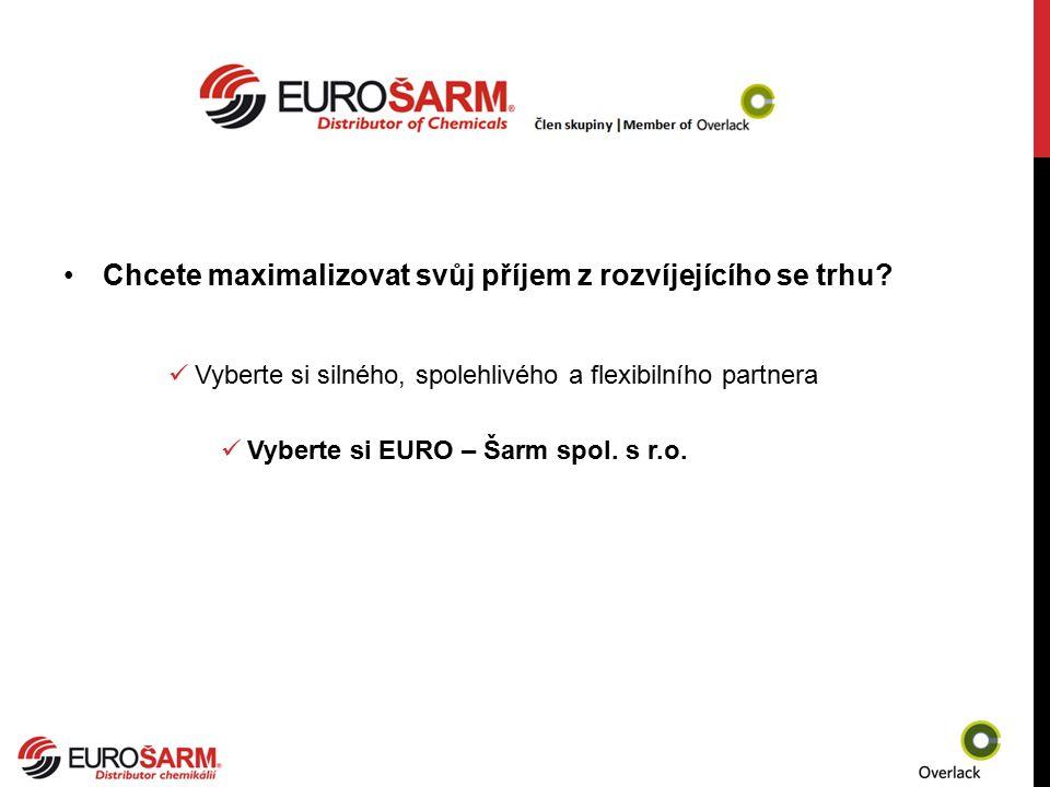 Chcete maximalizovat svůj příjem z rozvíjejícího se trhu? Vyberte si silného, spolehlivého a flexibilního partnera Vyberte si EURO – Šarm spol. s r.o.