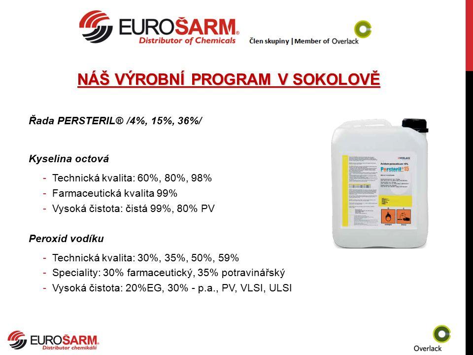 NÁŠ VÝROBNÍ PROGRAM V SOKOLOVĚ Řada PERSTERIL® /4%, 15%, 36%/ Kyselina octová -Technická kvalita: 60%, 80%, 98% -Farmaceutická kvalita 99% -Vysoká čis