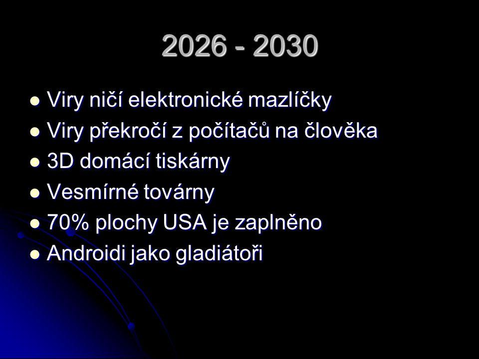 2031 - 2035 Roboti nadřazeni lidem Roboti nadřazeni lidem 95% lidí ve vyspělých státech je počítačově gramotná 95% lidí ve vyspělých státech je počítačově gramotná Hybernace pro cesty do vesmíru Hybernace pro cesty do vesmíru