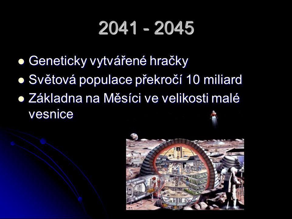 2046 -2050 Umělý mozek Umělý mozek Fůzní energie Fůzní energie Samostatná kolonie na Marsu Samostatná kolonie na Marsu Dolování na asteroidech Dolování na asteroidech Zmizí ozónová díra Zmizí ozónová díra Plně telepatická komunikace Plně telepatická komunikace