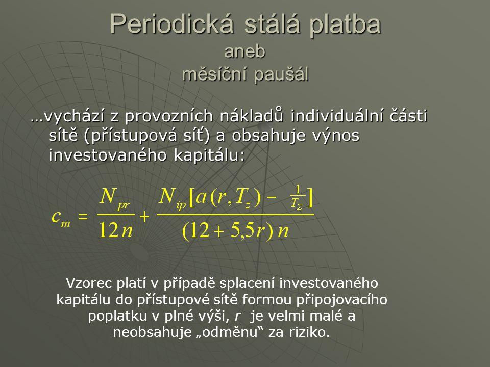 Periodická stálá platba aneb měsíční paušál …vychází z provozních nákladů individuální části sítě (přístupová síť) a obsahuje výnos investovaného kapi